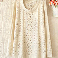 ROUND NECK LONG SLEEVE Cute HOLLOW-OUT SWEATER from PSILoveYouMore2