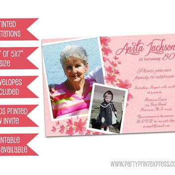 Pink Floral Birthday Invitation Woman - Flower Photo Birthday Invitation Women Milestone - Printed Female Surprise - 70th 80th 90th 100th 50