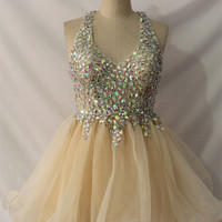 Champagne Beaded Illusion A-Line Tulle Homecoming Dress