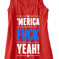 Merica F CK Yeah Patriotic American USA Tank Top Flowy Racerback Workout Work Out Custom Colors You Choose Size & Colors Mature