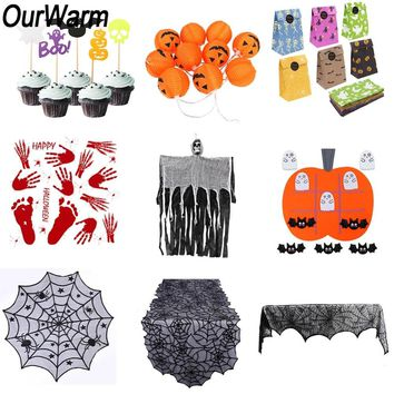 OurWarm Halloween Decoration Pumpkin Light Hanging Ghost Fireplace Mantle Scarf Curtain Horror Props Halloween Party Supplies