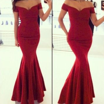 PEAPUNT Long Dress For Women Wedding Party Vintage Swing Sexy Slim Fishtail Wave Cheap-clothes-china