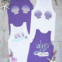 I Washed Up Like This | Bride | Seashell Bra | Mermaid Bachelorette Party Tank Tops