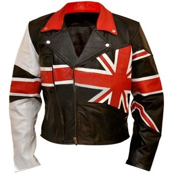 Union UK Flag Patriotic Leather Jacket