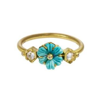 Rivera Turquoise Flower and Diamond Ring