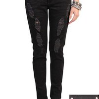 reign destructed color skinny jeans with stone hardware - 400003177455 - debshops.com