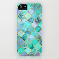Cool Jade & Icy Mint Decorative Moroccan Tile Pattern iPhone & iPod Case by Micklyn