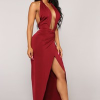 Can't Tell Me Nothing Halter Dress - Wine
