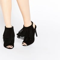 New Look Suede Peep Toe Boots With Fringing