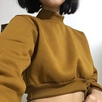 Mock Neck Cropped Sweatshirt