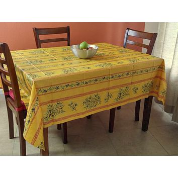 French Provencal Acrylic Coated Cotton Tablecloth Rectangle Olive Yellow Red 61x78