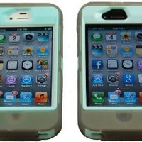 Iphone 4 4s Body Armor Defender Case Gray on Teal Comparable to Otterbox Defender + Colored Stylus and Pink Cure Wristband