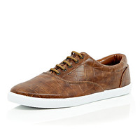 River Island MensBrown mock croc lace up plimsolls