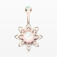 Rose Gold Starburst Opal Sparkle Flower Belly Button Ring