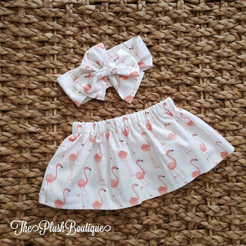 Freddy The Fancy Flamingo Baby Skirt Set