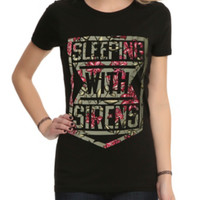 Sleeping With Sirens Floral Shield Logo Girls T-Shirt