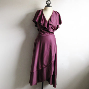 Vintage 1970s Plum Wrap Dress Ruffle Poly Knit Jersey 70s Disco Plus Size Dress 13