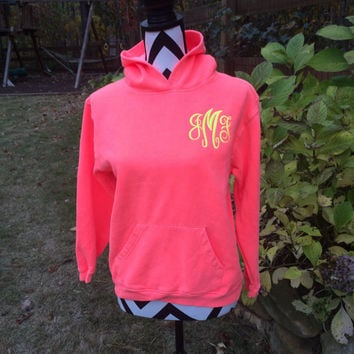 YOUTH Comfort Colors  Hoodie, Applique Monogram, Chevron Stitch Monogram