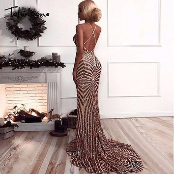 Tobinoone 2018 Elegant Deep V Neck Party Dresses Gold Sequined Maxi Dresses Backless Bodycon Evening Club Mermaid Dress