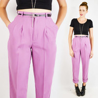 vintage 80s lavender purple HIGH WAIST SKINNY pants / 80s high waist pants / 80s skinny leg pants / pleated trouser pants / dress pants / s