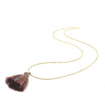 Petite Rainbow Tassel Necklace