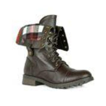 Plaid Lined Combat Boots