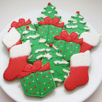 Christmas decorated cookie favors: Christmas trees, presents and stockings, 1 dozen cookies