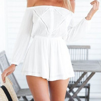 White Elastic Waist Chiffon Off Shoulder Loose Romper