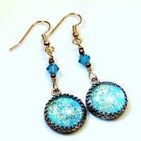 Turquoise Sparkle Earrings  Bohemian Jewelry