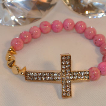 Pinky loves Spikes  chunky cross bracelet by GGSparkle on Etsy