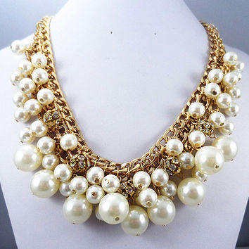 J. Crew Style Inspired Pearl Rhinestone ball Statement Necklace,Gold chain necklace ,bridesmaid gifts, bib necklace/white