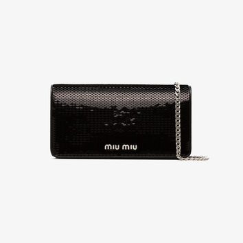 black sequin leather wallet on a chain