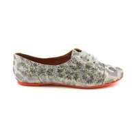 Womens Not Rated Block Party Flats, Silver  Journeys Shoes