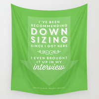 The Office Dwight Schrute Quote Season 1 Episode 1 - Downsizing - Green and White Wall Tapestry by Noonday Design