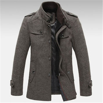 Mens Casual Knitted Stand Collar Wool Blend Tweed Coats Long Jackets