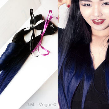 Royalty #1B Royal Blue Ombre 100% human hair Straight Dip Dye Clip In extensions Mermaid Hair