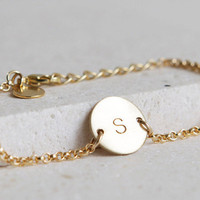 Gold Disc Bracelet /Initial Bracelet/Charm Bracelet/ Gold Filled/Personalized jewelry/Wedding Gift/Bridesmaid Gift/Gift for Bride/B156G