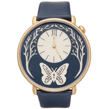 Dial - Yellow Gold and Navy Blue Leather Butterfly Watch