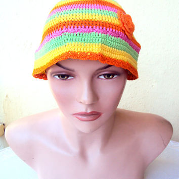 Crochet Summer Hat Beret Beanie Multicolored %100 Cotton Yarn Spring Summer Beachwear Women Girls Clothing Accessories