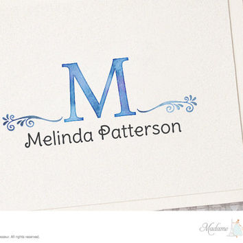 Premade logo design watercolor monogram logo fashion logo vintage logo business logo jewelry logo boutique logo Etsy shop logo website logo