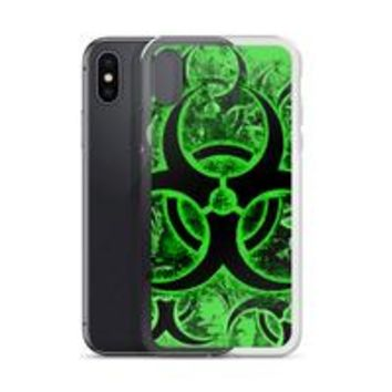 Apple iPhone Solid Case - Green and black biohazard sign, toxic fallout warning