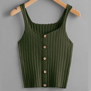 Ribbed Soft Knit Tank - Green