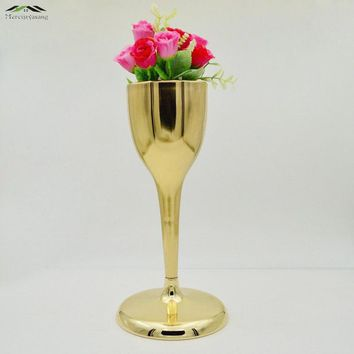 2Pcs/lot Silver Metal Wedding Flower Vase Table Centerpiece