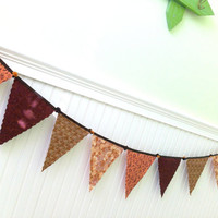 Autumn Browns Garland, Fabric Bunting, Fall, Decor, Harvest Banner Double Sided  5 plus Ft.