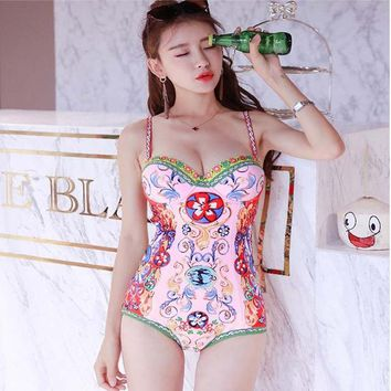Women's One Piece Bathing Suits Funny Printed Breathable Summer Beachwear Swimsuits High Waist Slim Sexy Triangle Swimwear