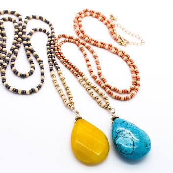 Beaded chain stone necklace