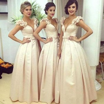 Pretty  V Neck Ball Gown Bridesmaid Dresses - Free Shipping