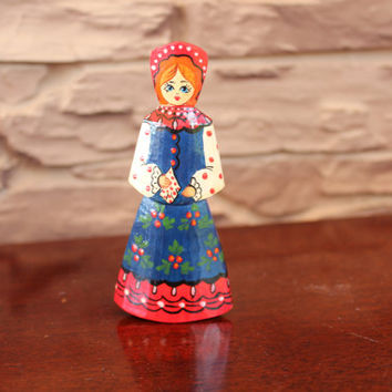 Vintage Russian Folk Art Wood Doll, Wooden Figure, Woman Figurine