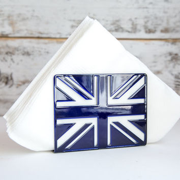 Napkin holder Deep blue glossy UK laser cut metal napkin dispenser kitchen accessory letter holder