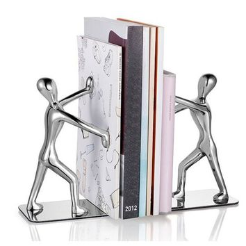 Heavy Duty Stainless Steel Man Bookends Nonskid Bookends Art Bookend